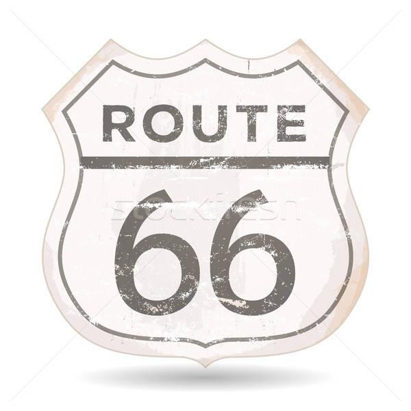Route 66 икона Гранж ржавчины текстуры иллюстрация Сток-фото © benchart