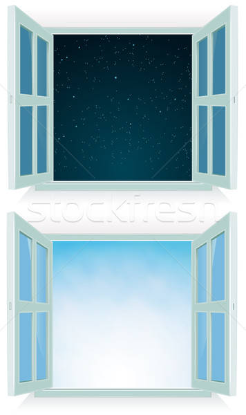 Open Window - Night And Day Stock photo © benchart