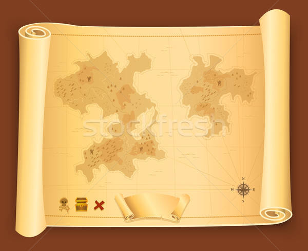Treasure Map On Parchment Scroll Stock photo © benchart