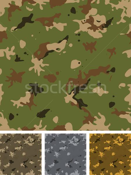 Bezszwowy wojskowych kamuflaż zestaw ilustracja zielone Zdjęcia stock © benchart