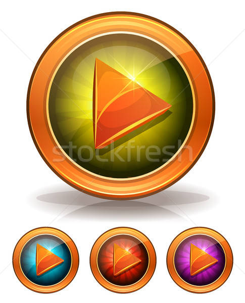Golden Play Buttons For Game Ui Stock photo © benchart