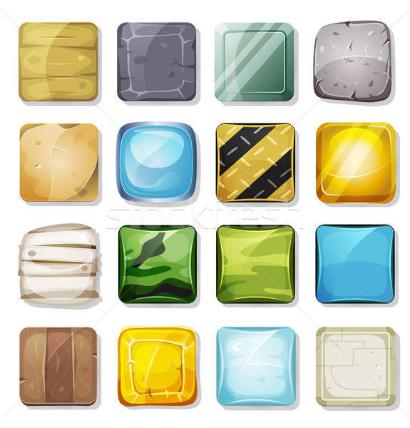 Icone pulsanti set mobile app gioco Foto d'archivio © benchart