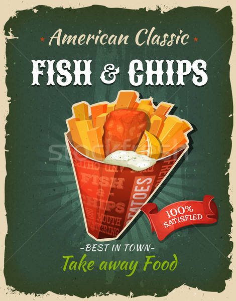 Retro Fast Food Fish And Chips Poster Stock photo © benchart