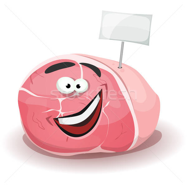 Funny Ham Character With White Label Stick Stock photo © benchart