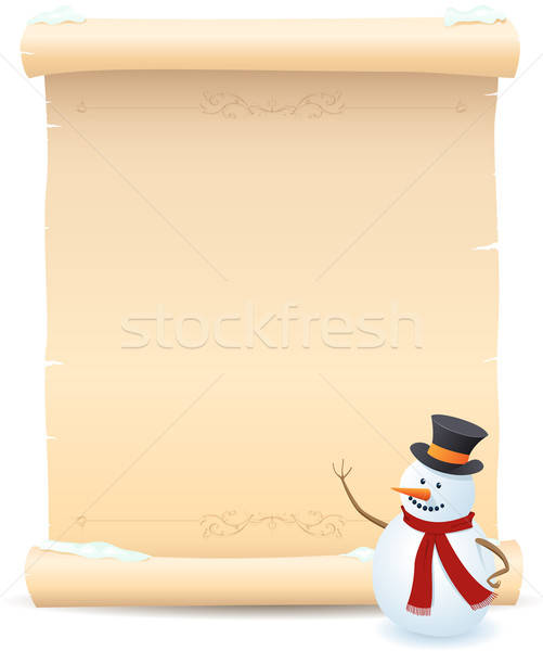 Snowman And Parchment Sign Stock photo © benchart