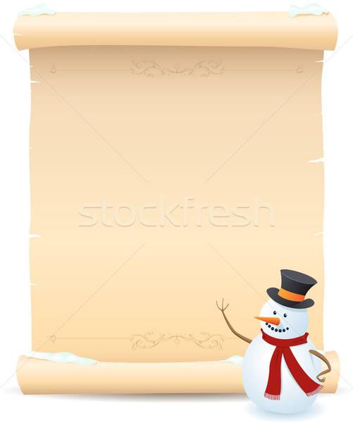 Snowman pergamin podpisania ilustracja niebo Zdjęcia stock © benchart