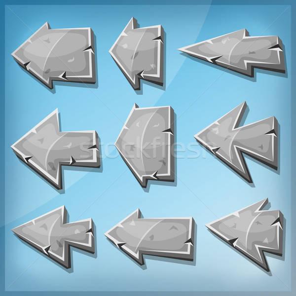 Pedra sinais ui jogo ilustração Foto stock © benchart