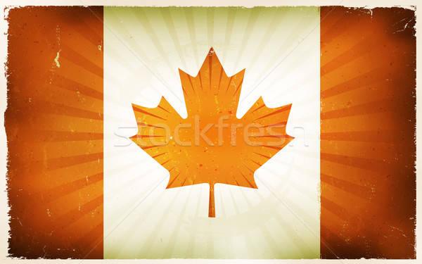 Vintage pavillon affiche illustration drapeau canadien rouge Photo stock © benchart