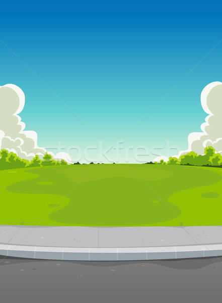 Pavement And Green Park Background Stock photo © benchart