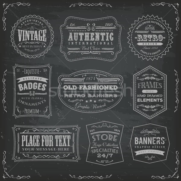 Vintage Labels Ans Signs On Blackboard Stock photo © benchart