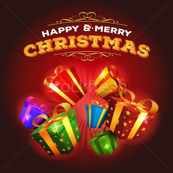 Vesel Crăciun explozie Cadouri ilustrare proiect Imagine de stoc © benchart