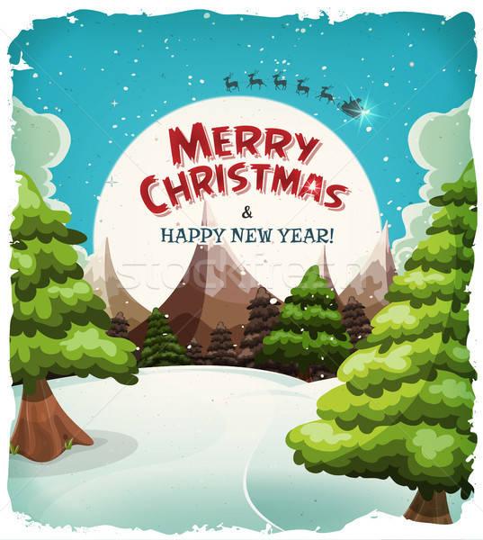 Merry Christmas Landscape Postcard Stock photo © benchart