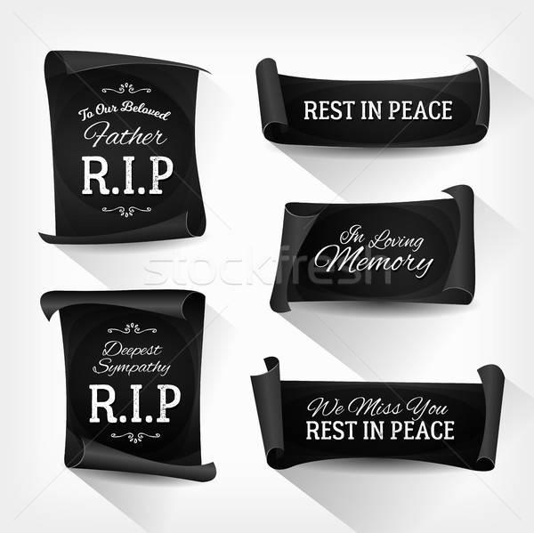 Cenaze barış afişler örnek ayarlamak zarif Stok fotoğraf © benchart