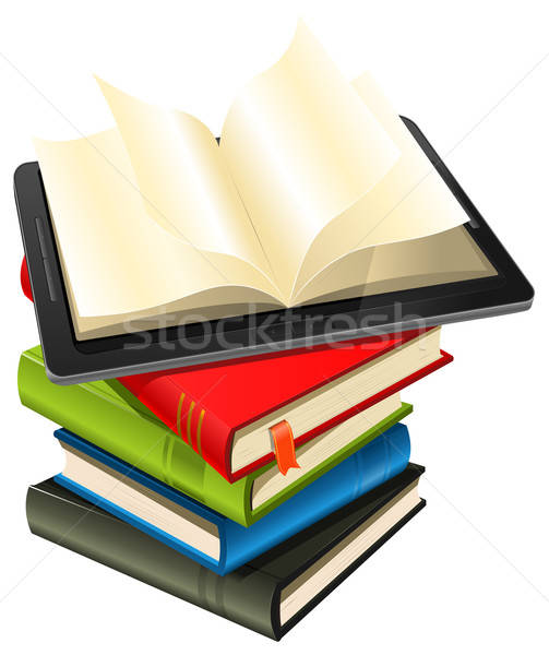 Tablet PC On A Book Pile Stock photo © benchart