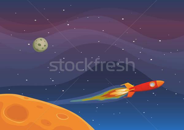 Astronave viaje espacio ilustración cohete vuelo Foto stock © benchart