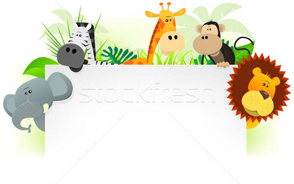 Wild Animals Letterhead Background Stock photo © benchart