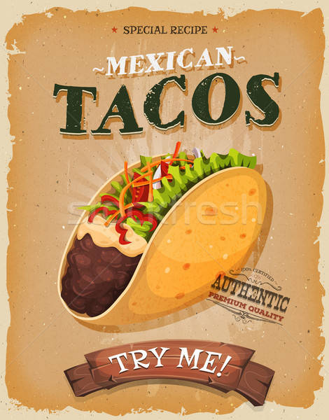 Grunge vintage mexican tacos affiche illustration Photo stock © benchart