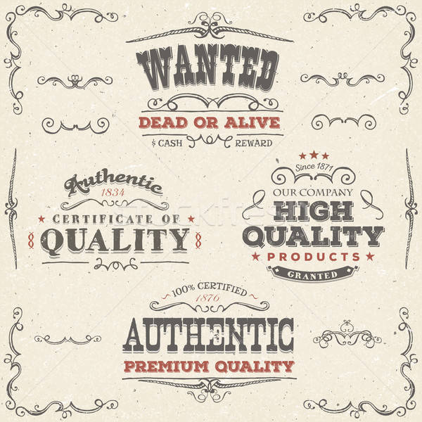 Hand Drawn Vintage Quality Banners And Labels Stock photo © benchart