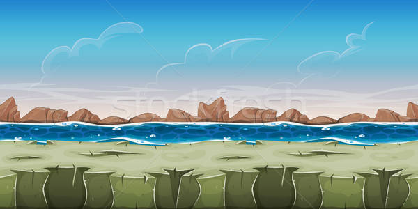 Seamless Ocean Landscape For Game Ui Stock photo © benchart