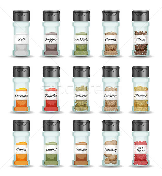 Spices, Pepper, Seeds And Condiment Set Stock photo © benchart