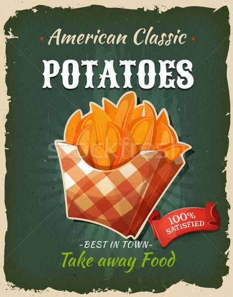 Retro fast food patate poster illustrazione Foto d'archivio © benchart