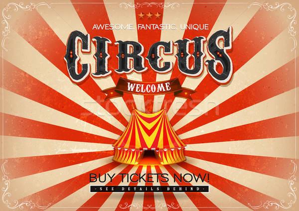 Vintage cyrku plakat ilustracja retro czerwony Zdjęcia stock © benchart