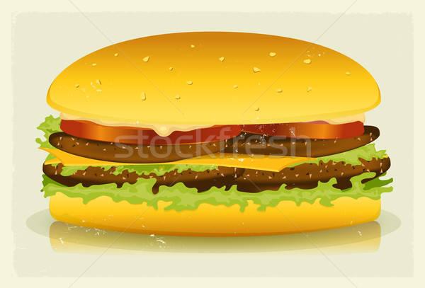 Grunge Textured Long Burger Poster Stock photo © benchart