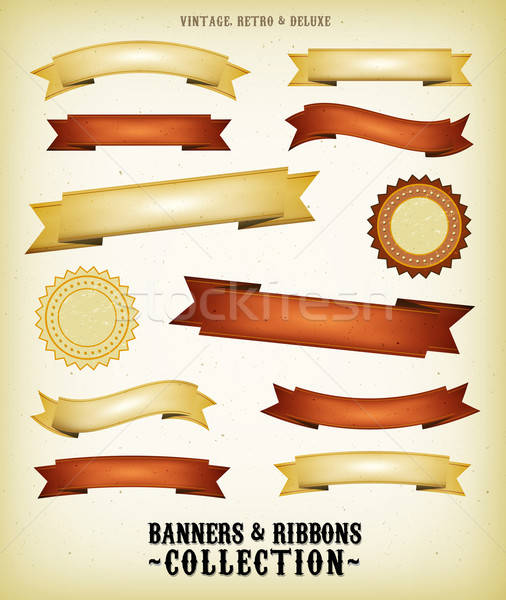 Vintage Banners And Ribbons Set Stock photo © benchart