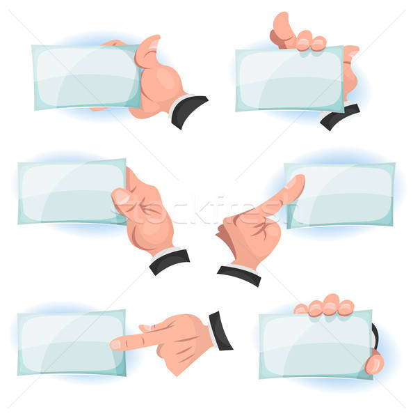 Comic Hands Holding ID Cards Signs Stock photo © benchart