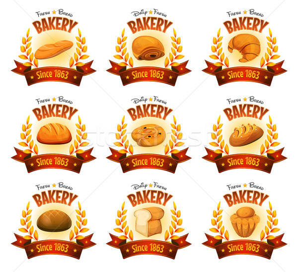 Bakery Shop Banners With Breads And Cakes Stock photo © benchart