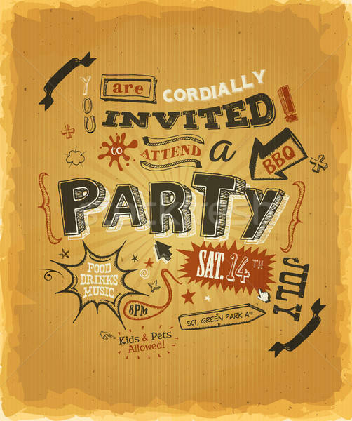 Party Invitation Poster On Kraft Paper Stock photo © benchart