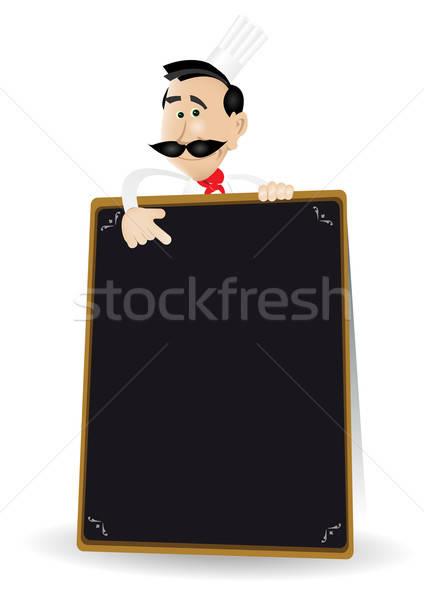 Chef Menu Holding A Blackboard Stock photo © benchart