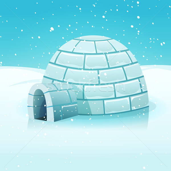 Cartoon Igloo In Polar Winter Landscape Stock photo © benchart