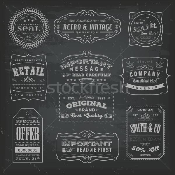 Klasszikus címkék feliratok iskolatábla illusztráció szett Stock fotó © benchart