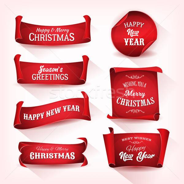 Karácsony pergamen tekercs gyűjtemény illusztráció szett Stock fotó © benchart