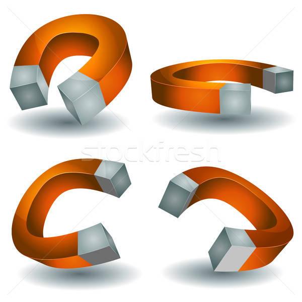 Patkó mágnes szett illusztráció rajz erő Stock fotó © benchart