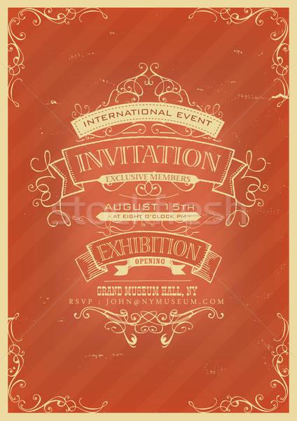 Retro Red Invitation Background Stock photo © benchart