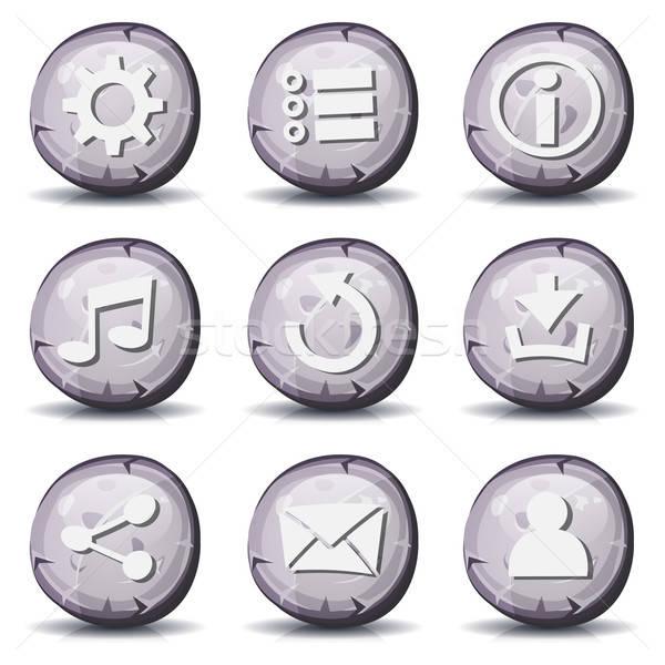 каменные рок иконки ui игры иллюстрация Сток-фото © benchart