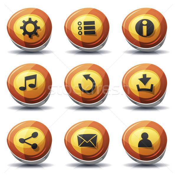 Znak drogowy ikona przyciski ui gry ilustracja Zdjęcia stock © benchart