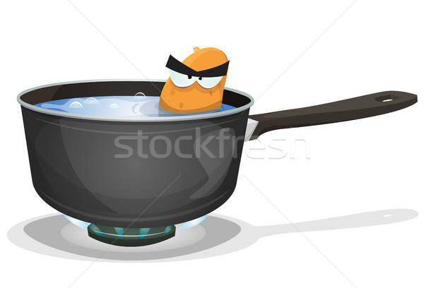 Boiling Potato Inside Kitchen Pan Stock photo © benchart