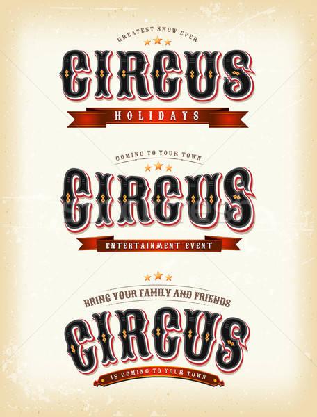 Cirkusz bannerek klasszikus illusztráció retro grunge Stock fotó © benchart
