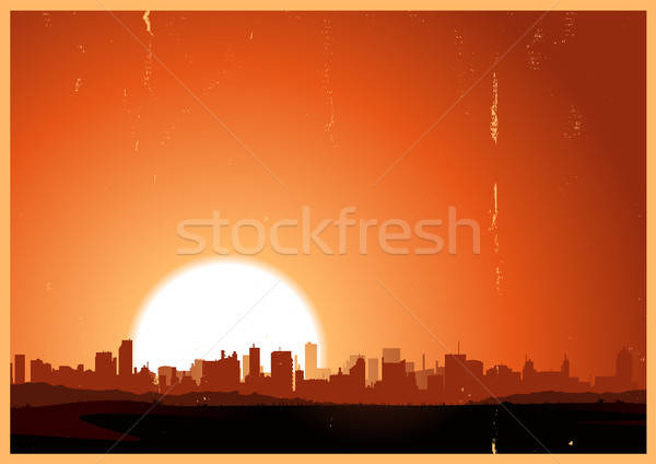 été sunrise ville illustration urbaine paysage Photo stock © benchart