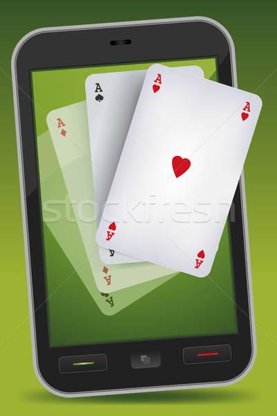 Smartphone jeux quatre illustration carte Photo stock © benchart
