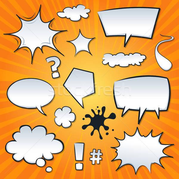 Komische spatten ingesteld illustratie cartoon Stockfoto © benchart