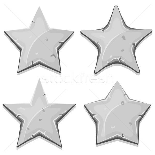 Pedra estrelas ícones ui jogo ilustração Foto stock © benchart