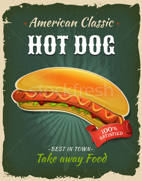 Retro fast food hot dog poster illustratie ontwerp Stockfoto © benchart