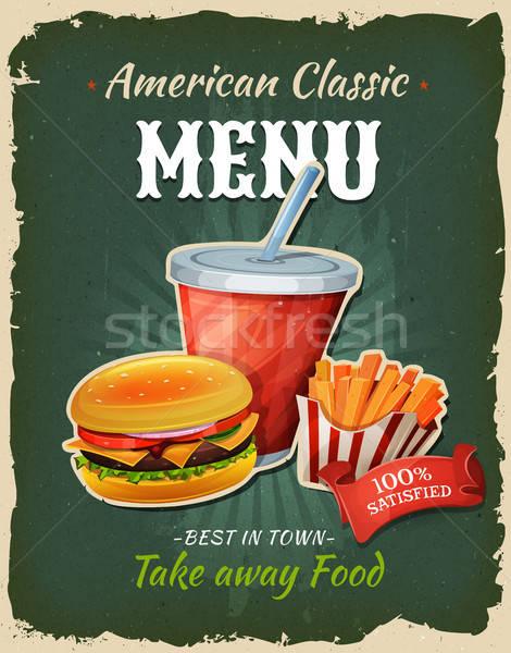 Retro Fast Food Burger Menu Poster Stock photo © benchart