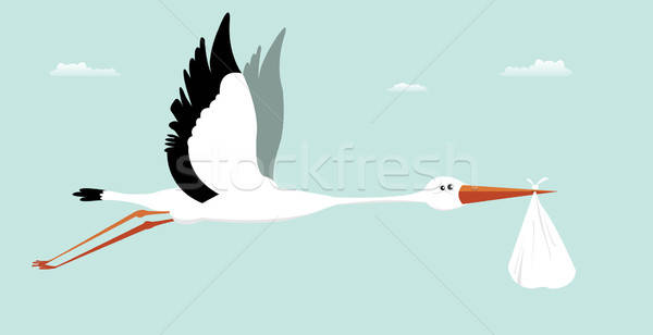 Stork Delivering Baby - It's A Boy Stock photo © benchart
