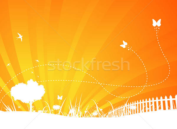 Garden Background With Butterflies And Swallows Stock photo © benchart