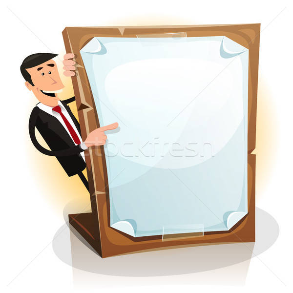 Cartoon White Businessman Holding A Paperboard Stock photo © benchart